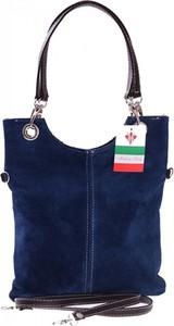 Granatowa torebka GENUINE LEATHER w stylu casual z zamszu