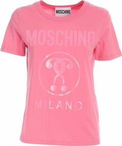 T-shirt Moschino z okrągłym dekoltem z krótkim rękawem w młodzieżowym stylu