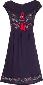 Granatowa sukienka Coline rozkloszowana mini w stylu retro