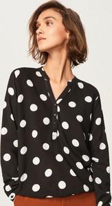 Czarna bluzka Reserved w stylu retro z długim rękawem