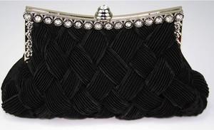 Czarna torebka Wielka Brytania w stylu glamour mała zdobiona