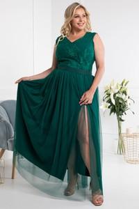 Zielona sukienka KARKO z dekoltem w kształcie litery v z tiulu