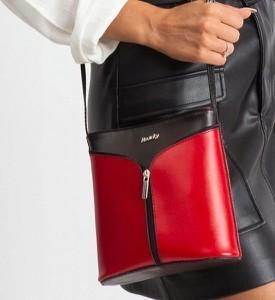 Czerwona torebka Rovicky ze skóry na ramię średnia