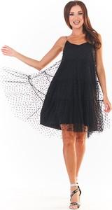 Sukienka Awama na ramiączkach mini z dekoltem w kształcie litery v