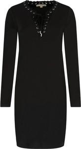 Czarna sukienka Michael Kors z żabotem w stylu casual
