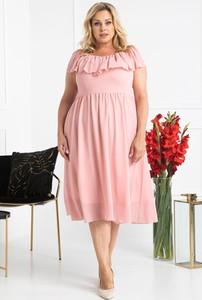 Różowa sukienka KARKO z krótkim rękawem hiszpanka z szyfonu