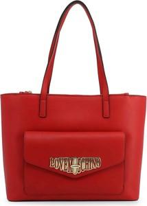 Czerwona torebka Love Moschino matowa na ramię