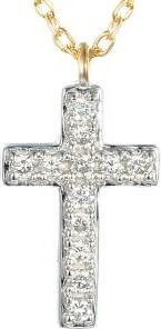 Lovrin Złoty naszyjnik 585 krzyż z brylantami diamenty