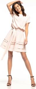 Sukienka Tessita midi z okrągłym dekoltem z krótkim rękawem
