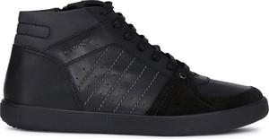 Czarne buty sportowe Geox sznurowane ze skóry
