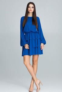 Niebieska sukienka Figl mini z okrągłym dekoltem