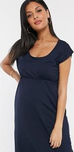 Granatowa sukienka Mama Licious z krótkim rękawem
