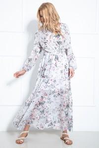 Sukienka Fobya maxi z długim rękawem z dekoltem w kształcie litery v