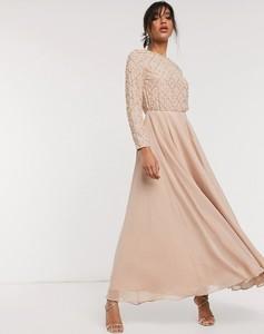 Sukienka Asos z długim rękawem z okrągłym dekoltem z tiulu