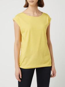 Żółta bluzka Montego z okrągłym dekoltem z krótkim rękawem w stylu casual