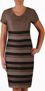 Brązowa sukienka POLSKA midi ołówkowa