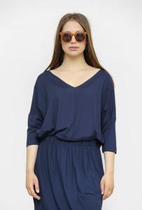 Niebieska bluzka Freeshion w stylu casual z długim rękawem z dekoltem w kształcie litery v