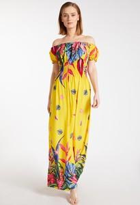 Żółta sukienka Monnari hiszpanka z krótkim rękawem maxi