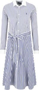 Niebieska sukienka POLO RALPH LAUREN koszulowa z długim rękawem w stylu casual