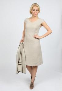 Sukienka Metafora midi z dekoltem w kształcie litery v z lnu
