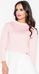 Różowa bluzka Figl z okrągłym dekoltem