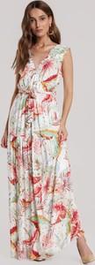 Sukienka Renee bez rękawów maxi z dekoltem w kształcie litery v