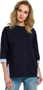 Bluzka MOE z okrągłym dekoltem z długim rękawem z bawełny