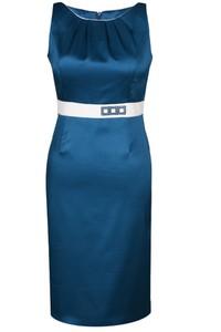 Granatowa sukienka Fokus ołówkowa midi bez rękawów