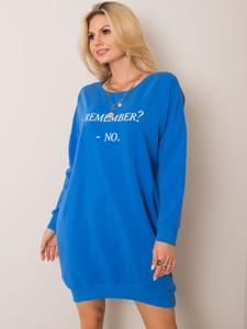 Niebieska sukienka Sheandher.pl w stylu casual z bawełny z okrągłym dekoltem