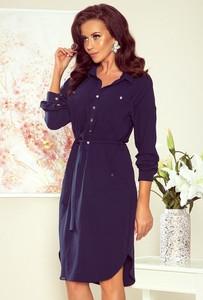 Granatowa sukienka Merg szmizjerka z długim rękawem