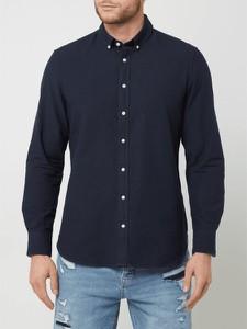 Granatowa koszula Montego w stylu casual z kołnierzykiem button down z tkaniny