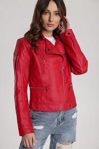 Czerwona kurtka Renee w stylu casual krótka