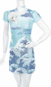 Niebieska sukienka Current Mood mini z golfem z krótkim rękawem