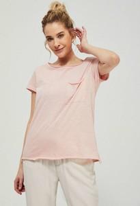 Różowy t-shirt Moodo z krótkim rękawem z okrągłym dekoltem