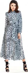 Niebieska sukienka Awama w stylu casual koszulowa maxi