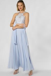Niebieska sukienka Luxuar Fashion z dekoltem halter gorsetowa maxi