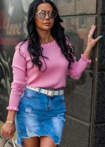 Różowy sweter Fason z bawełny w stylu casual