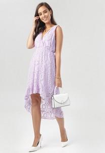 Fioletowa sukienka born2be z dekoltem w kształcie litery v mini