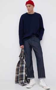 Granatowy sweter Levis z wełny z okrągłym dekoltem w stylu casual
