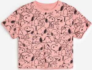 Różowa bluzka dziecięca Reserved z krótkim rękawem z bawełny dla dziewczynek