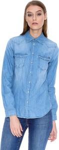 Niebieska koszula Pepe Jeans z kołnierzykiem z jeansu z długim rękawem