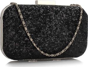 Czarna torebka Wielka Brytania w stylu glamour z aplikacjami mała