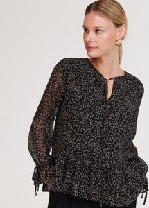Czarna bluzka Reserved z długim rękawem w stylu boho ze sznurowanym dekoltem