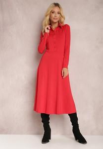 Czerwona sukienka Renee z kołnierzykiem midi z długim rękawem