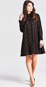 Brązowa sukienka Guess z okrągłym dekoltem z długim rękawem mini