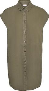 Zielona sukienka Noisy May z krótkim rękawem koszulowa z bawełny
