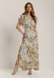 Sukienka Renee maxi z krótkim rękawem z dekoltem w kształcie litery v