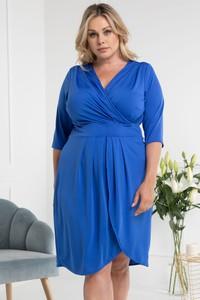 Niebieska sukienka KARKO z długim rękawem z dekoltem w kształcie litery v