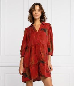 Czerwona sukienka Desigual z długim rękawem