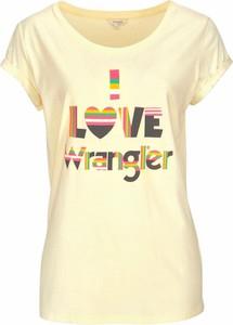 Żółty t-shirt Wrangler z krótkim rękawem z dżerseju